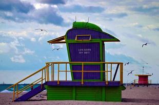 Vízimentők tornyai a Miami Beach-en