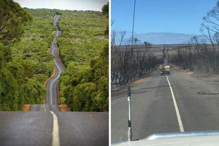 Ausztrál helyszínek a tűzvész előtt és után.