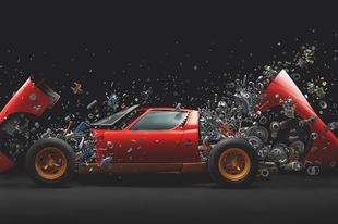 Darabokra robban fel egy Lamborghini Miura, Fabian Efner fotós projektében.