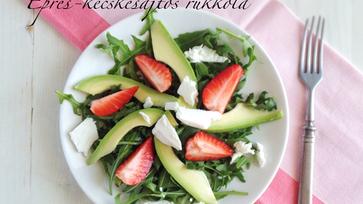 Könnyű salátavacsorák: Epres-kecskesajtos rukkola