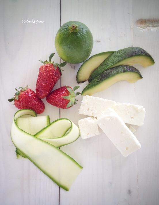 az 5 hozzávaló: lime, eper, avokadó, cukkini, kecskesajt