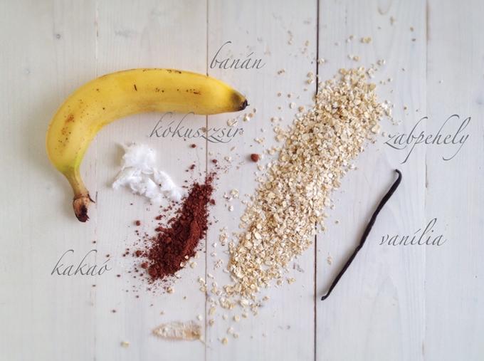 Kakaós vaníliás zabkeksz hozzávalói: banán, kókuszzsír, kakaó, zabpehely, vanília