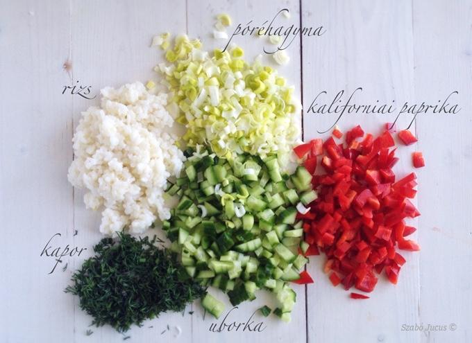 Kapros-zöldséges rizssaláta 5 hozzávalója: rizs, uborka, kaliforniai paprika, póréhagyma, kapor