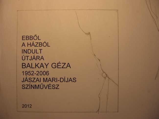 Balkay Géza emléktáblájának terve