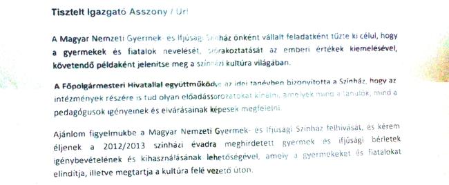 Csomós Miklós levele a fővárosi fenntartású nevelési intézmények vezetőinak