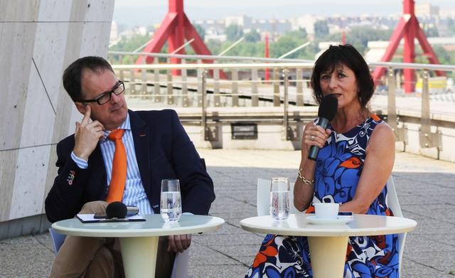 Káel Csaba a Müpa igazgatója és Bán Teodóra producer a sajtóbeszélgetésen