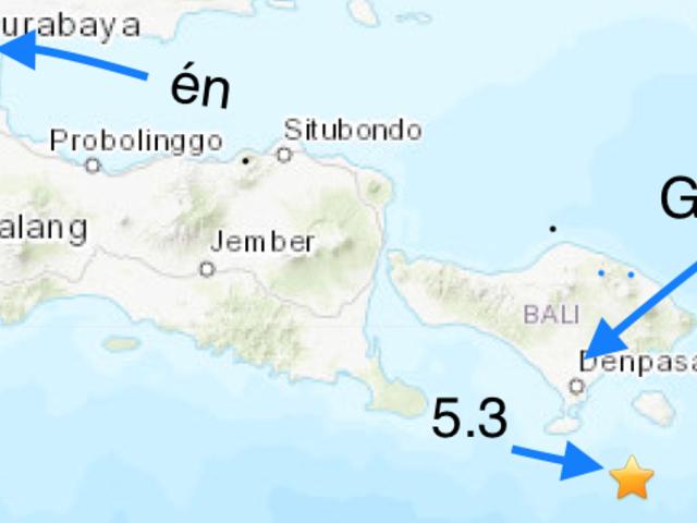 5.3 földrengés Bali alatt nem sokkal