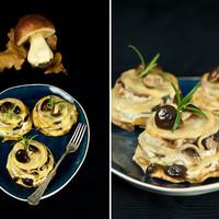 Túrós-gombás lasagne
