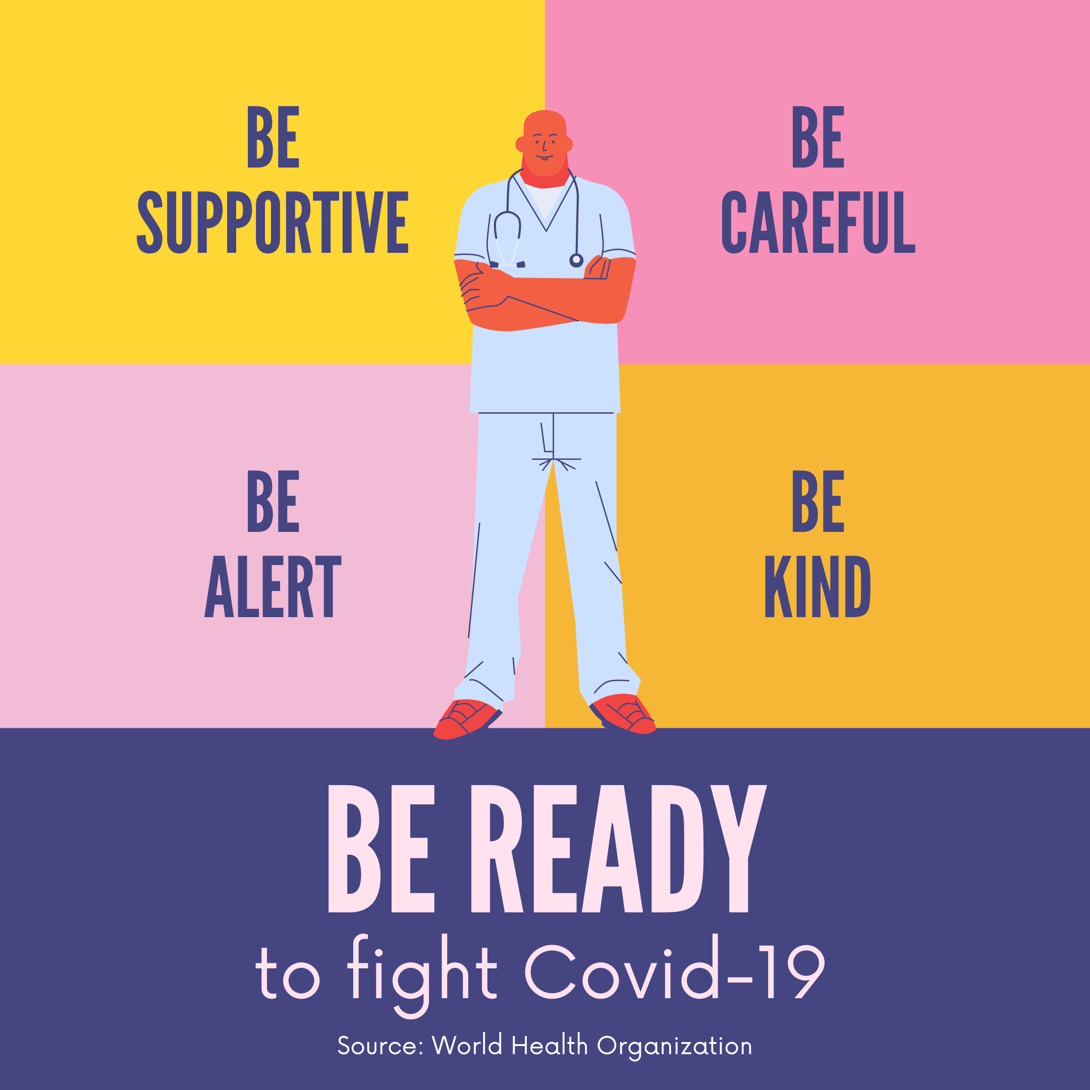 yellow_pink_and_purple_be_ready_to_fight_covid-19_instagram_post.png