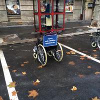 Kerekesszékes parkolófoglalás Pesten