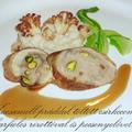 Kacsamell-práddal töltött csirkecomb, karfiolos rizottóval és pecsenyelével