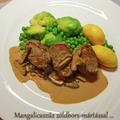 Mangalicaszűz shiitake gombás zöldbors-mártással és zöldségekkel