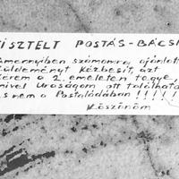 Tisztelt Postás-Bácsi...
