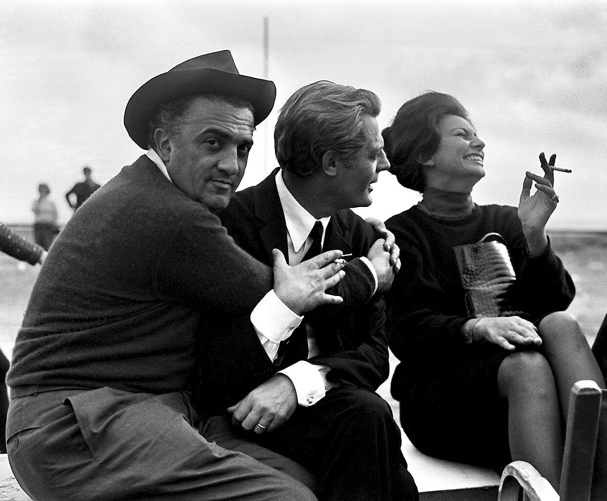 Frederico Fellini, Sophia Loren és Marcello Mastroianni.