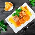 Lazacsteak, kandírozott citrusok, zelleres édesburgonyapüré
