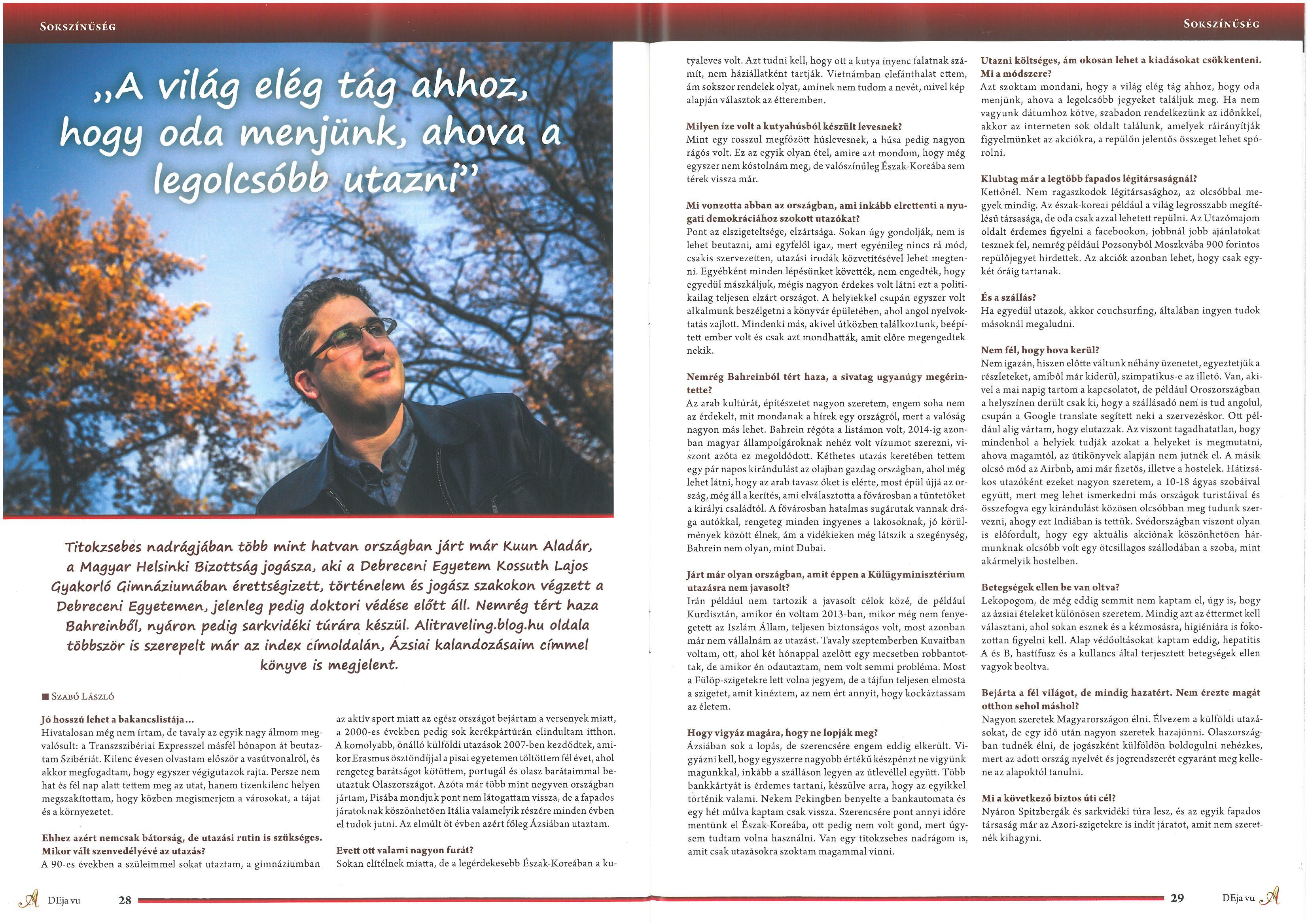 Interjú a DEja vu magazinban
