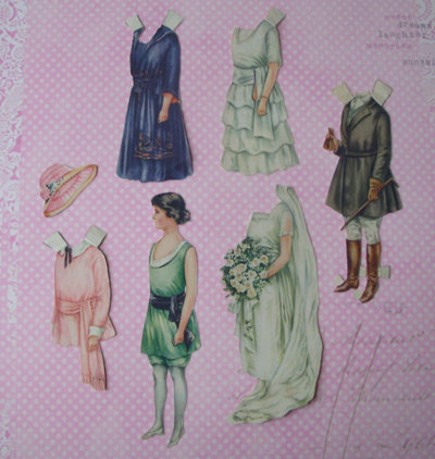 Antique paper doll from the June 1921 issue of Ladies Home Journal. Polly's sister has a June wedding doll.