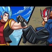 Goku SSJGSSJ + Luffy FÚZIÓ VS. Thor + Superman FÚZIÓ!!