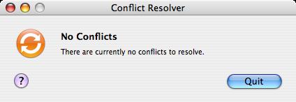 'No Conflicts' ablak a .Mac Sync Service Conflict Resolverétől