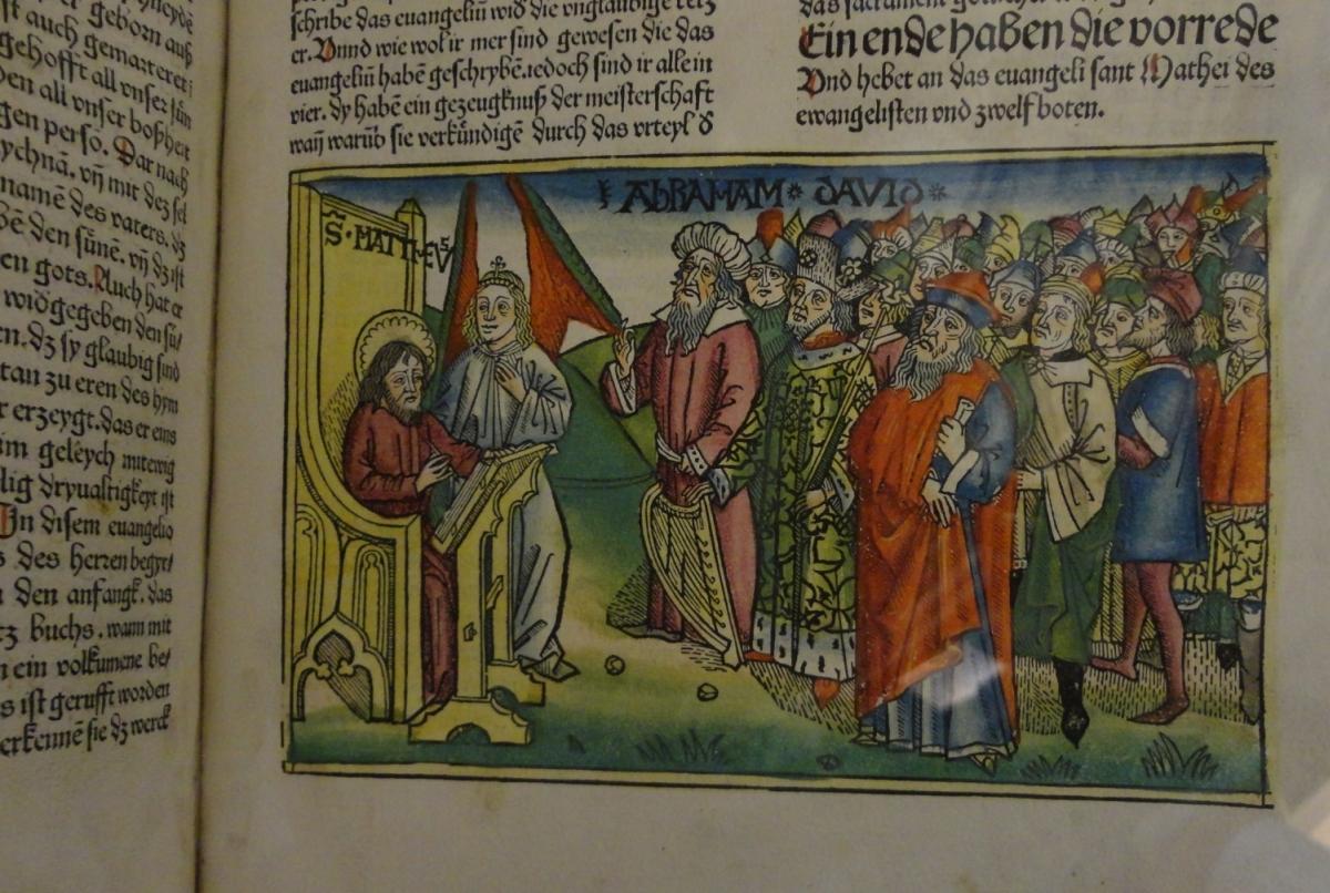 Egy latin nyelvű ősnyomtatvány kézzel színezett illusztrációja, Sárospataki Református Kollégium Nagykönyvtár [TINTA Könyvkiadó]