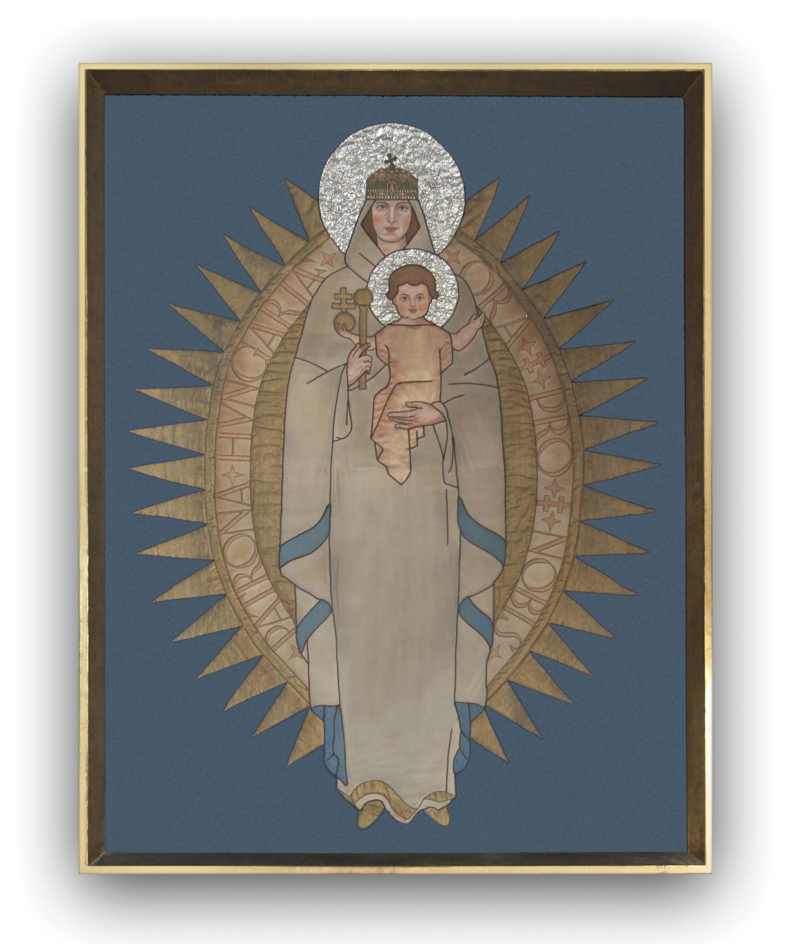 a templom Mária-oltárának textilképe az 1938-as Eucharisztikus Világ-kongresszus főoltárát díszítette
