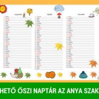 Letölthető őszi naptár