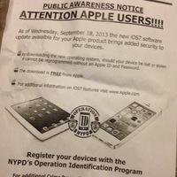 A rendőrök felszólítják az embereket, frissítsenek iOS 7-re