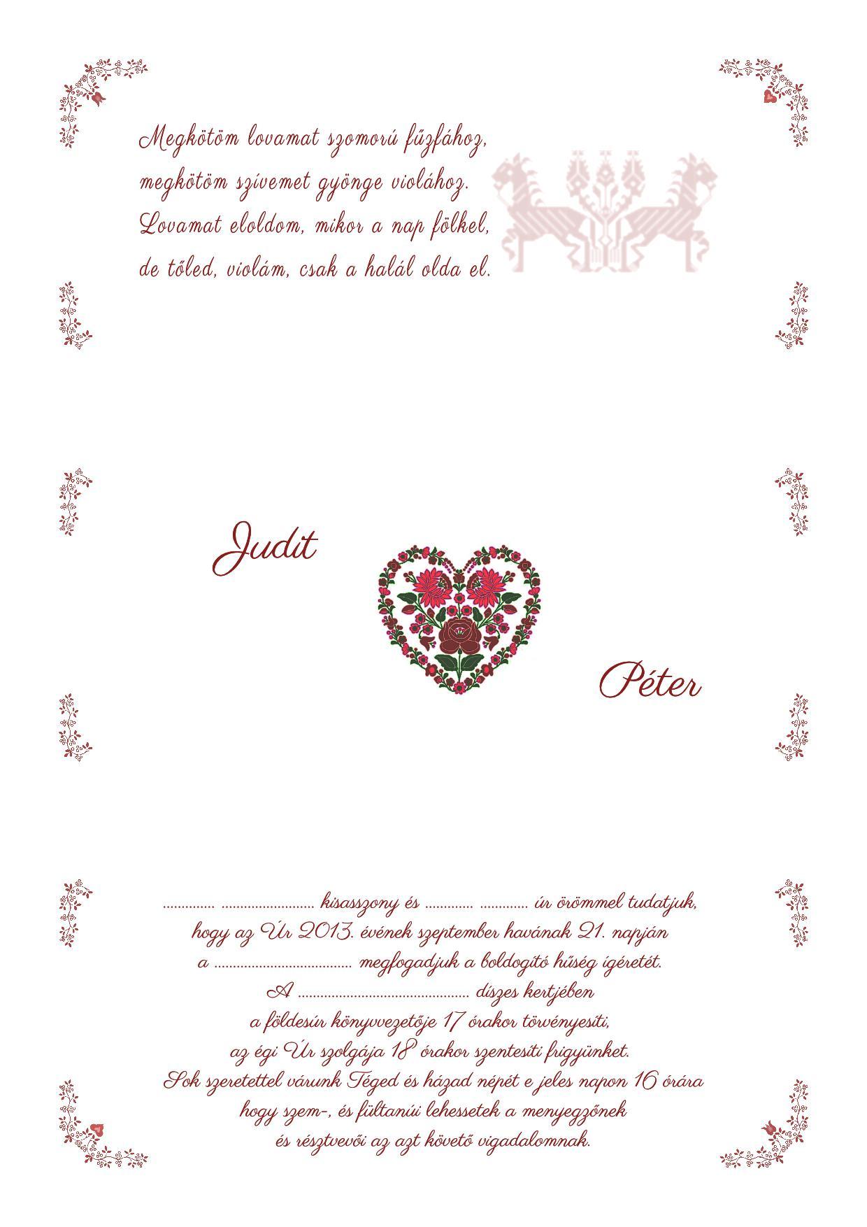 6803a96304 Esküvői meghívó készítés házilag saját szöveggel - Aranyszamár