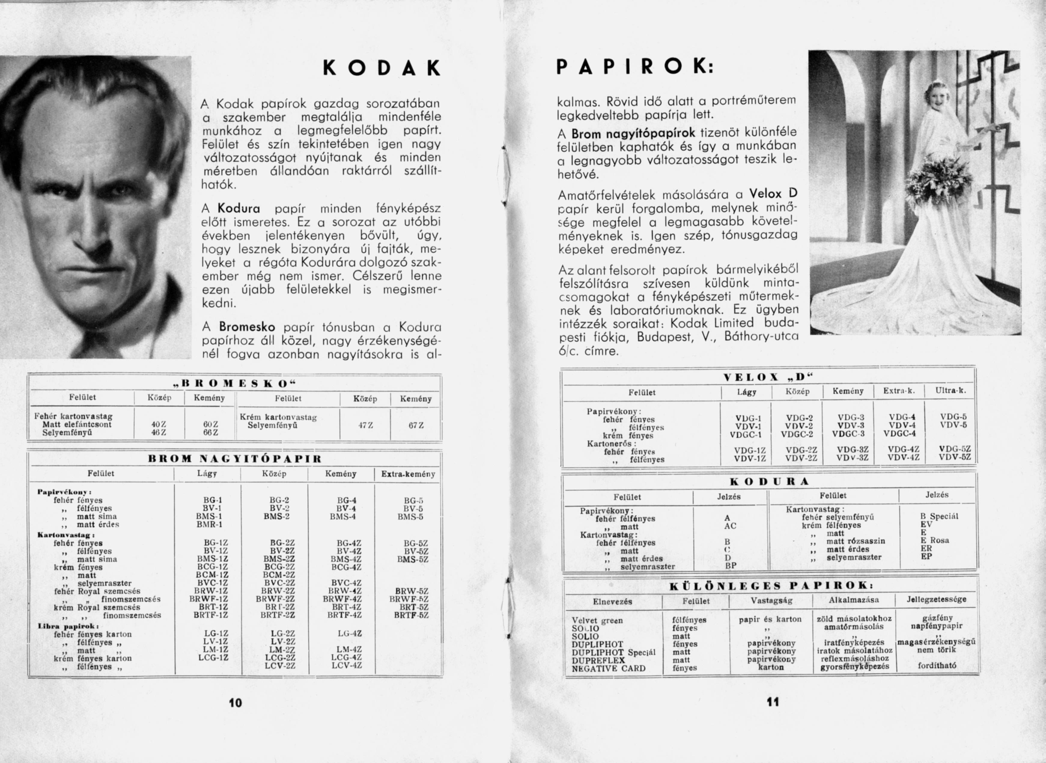 Kodak árjegyzék fotópapírok