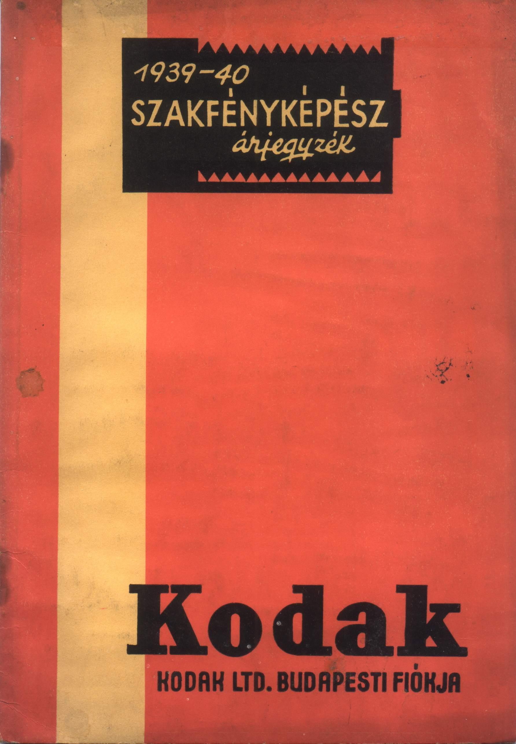 Kodak árjegyzék címlap
