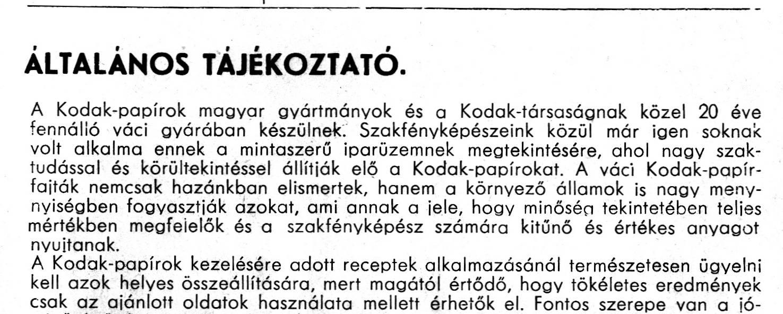 Kodak árjegyzék Szöveg részlet.