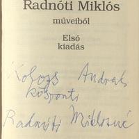 Radnóti Miklósné Gyarmati Fanni (1912-2014) dedikációja