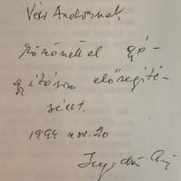Hegedüs András (1922-1999) miniszterelnök dedikációja