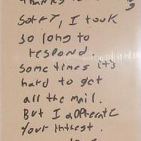 Quentin Tarantino kézzel írott levele és autogramja