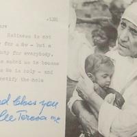 Teréz Anya (1910-1997) dedikációja