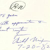 Richard Nixon (1913-1994) dedikációja