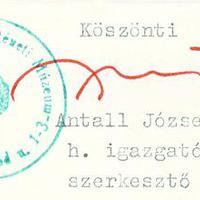 Antall József (1932-1993) miniszterelnök aláírása