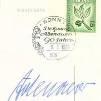 Konrad Adenauer (1876-1967) kancellár autogramja