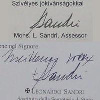 A pápa hangja (Leonardo Sandri aláírása)