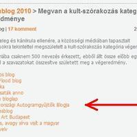 Hatodik az autogram.blog a Goldenblog 2010 verseny kult-szórakozás kategóriájában!