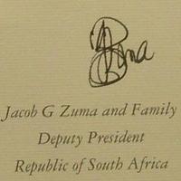 Jacob Zuma dél-afrikai elnök autogramja