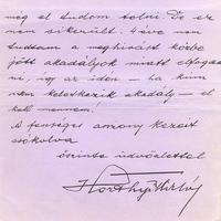 Horthy Miklós (1868-1957) kézzel írott levele