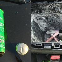 Gejzírként robbant ki a hajlakkos flakon egy autóból