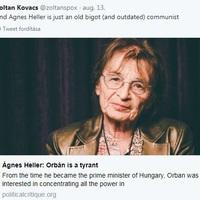 Kormányszóvivő: Heller Ágnes egy öreg, bigott, idejétmúlt kommunista