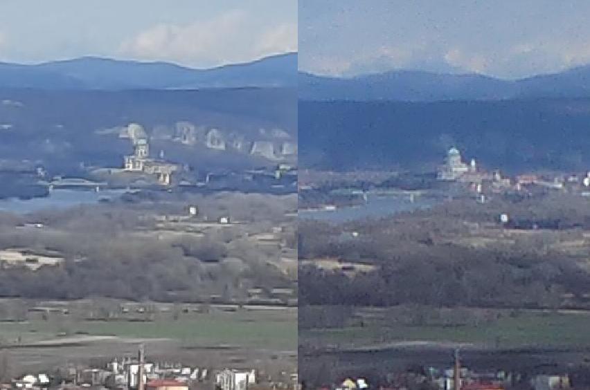 Túlnagyított részlet az Esztergomi Bazilikáról. Balra a mobil, jobbra a fényképezőgép képe.