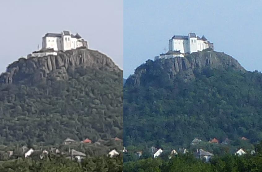 Képrészletek 150%-os túlnagyítással történő összehasonlítása. Balra a mobil, jobbra a fényképezőgép képe.