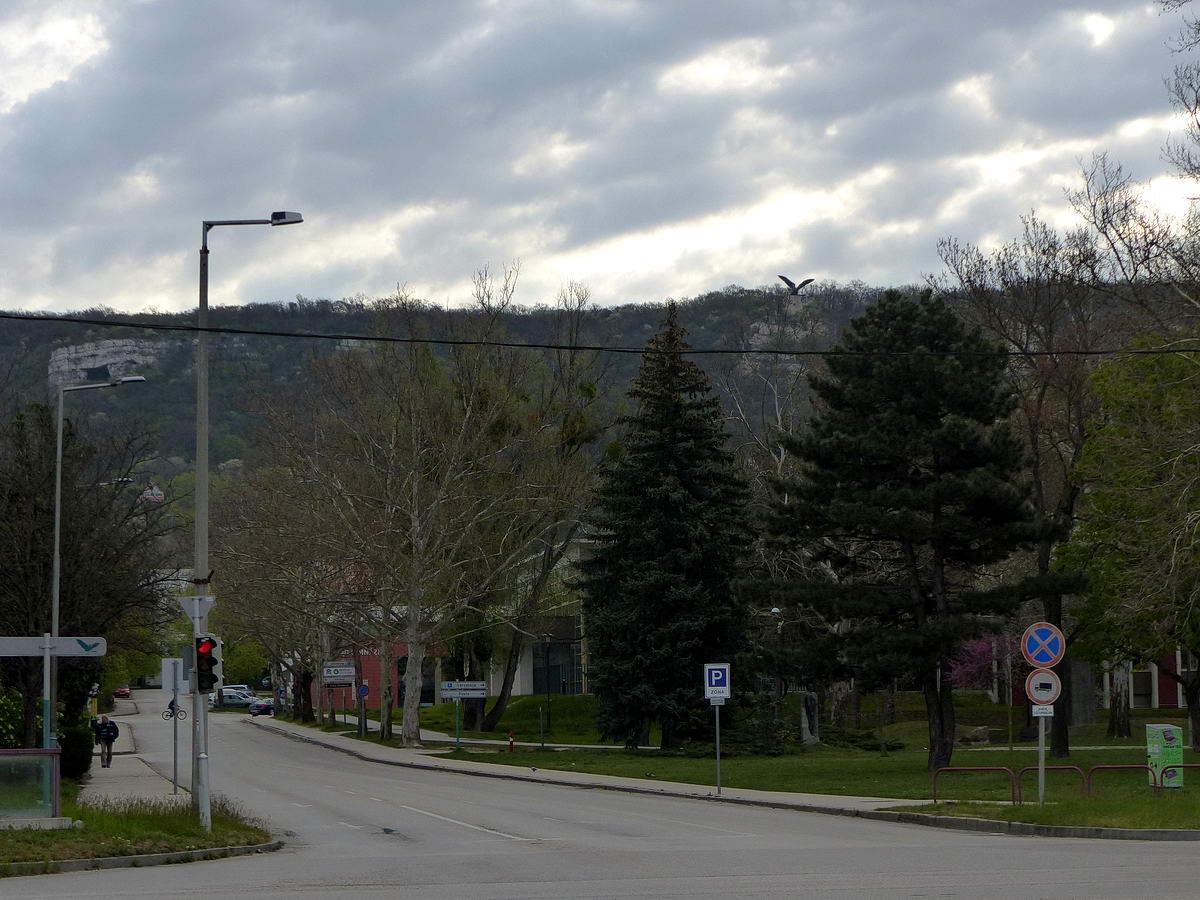A vasútállomástól már jól látható a Kő-hegy oldalában a Szelim-barlang szája (balra) és a Turul szobor. Oda bizony fel kell kapaszkodni. Sajnos, nem találtam jobb rálátást, igaz, nem is nagyon kerestem!