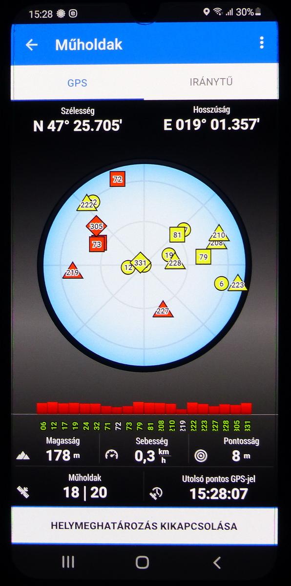 A Locus indítása után érdemes megnézni, hogyan 'fogja be' a GPS vevő a műholdakat, és növekszik a helymeghatározás pontossága.