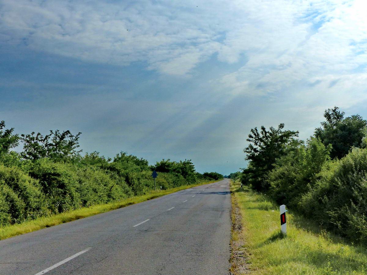 Reggeli fényviszonyok a Fegyvernek és Kunhegyes közötti országúton.