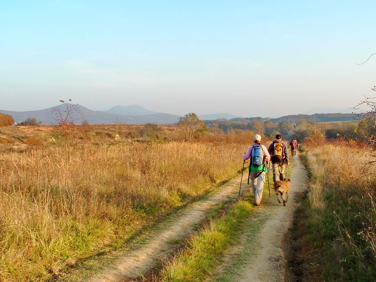 Kilátás a Ziribárra (balra) és a kétpúpú Kevélyre egy derült őszi napon a mezőről
